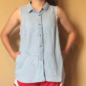 Free people denim linen blend sleeveless top